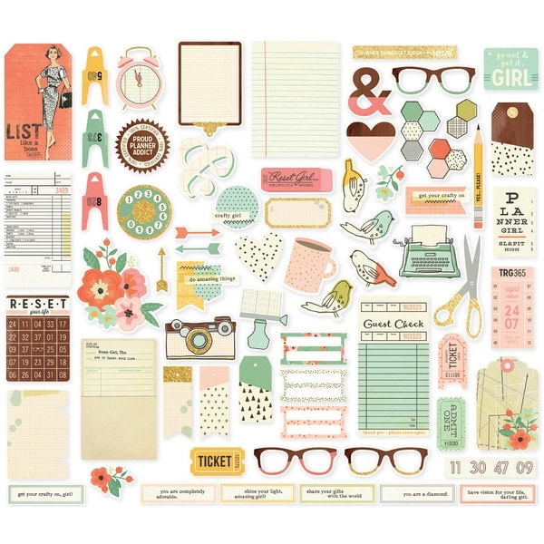 Reset Girl Bits & Pieces Die-Cuts 67/Pkg-Foil Accents