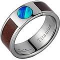 Titanium Wedding Band With Koa Wood & Circular Opal Inlay 8mm - Thumbnail 0