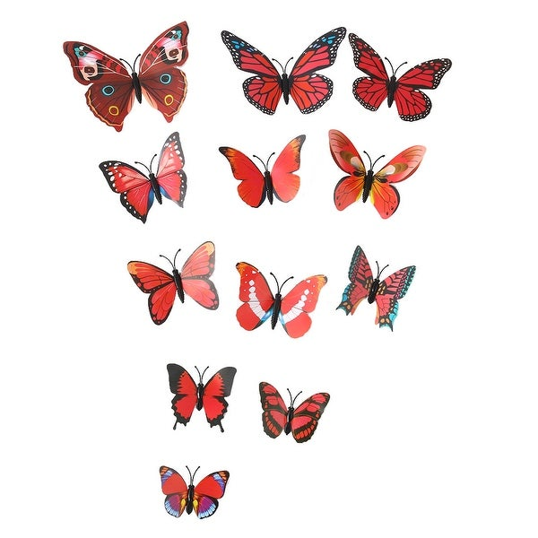 3D Butterfly Wall Sticker Decal Sticker for Home Room Decoration Red