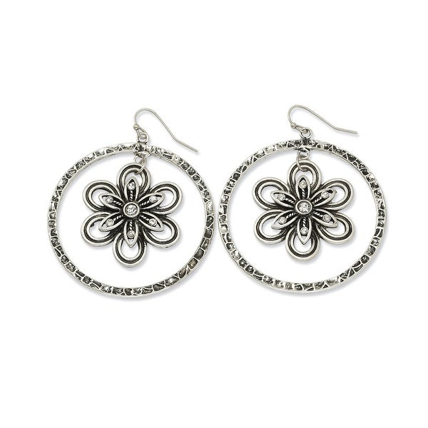 Silvertone Flower Dangle Earrings