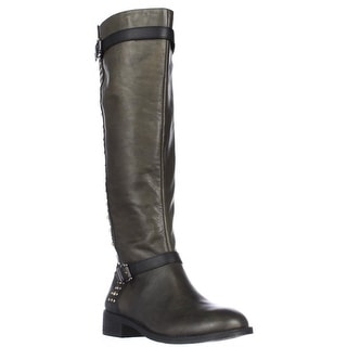 Jessica Simpson Ellister Studded Flat Riding Boots - Military Fatigue Combo