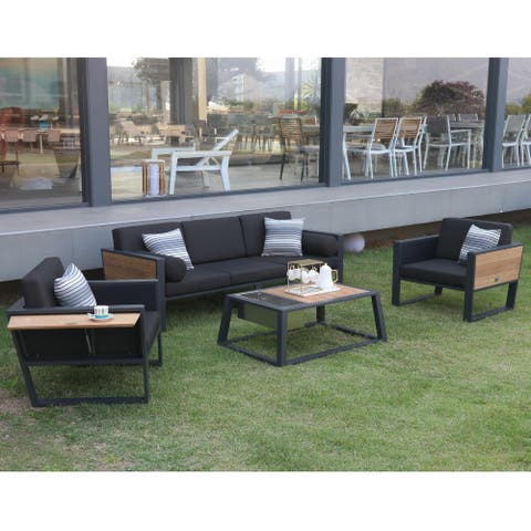 HIGOLD - 2017 York 5 Seaters Aluminum Outdoor Sofa with Cushions and Pillows, Teak Wood, Texilene