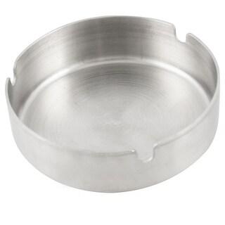 "Unique Bargains Unique Bargains 3.9"" Diameter Silver Tone Round Cigarette Stainless Steel Ash Tray Holder"