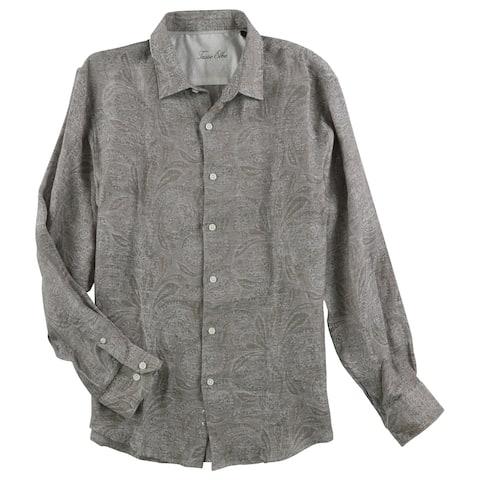Tasso Elba Mens Linen Jacquard Button Up Shirt