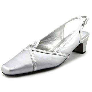 Easy Street Taylor Women N/S Square Toe Canvas Silver Slingback Heel