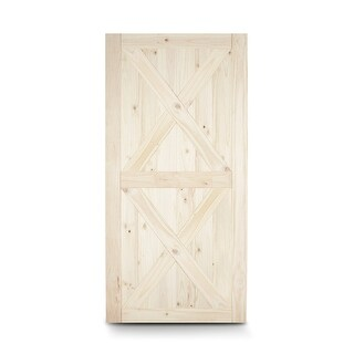 "BELLEZE 42"" x 84"" inches DIY Natural Wood Pine Unfinished Sliding Barn Door, Double X"