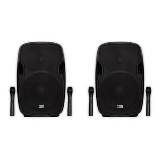 """Acoustic Audio AA154UB Active 2800Watt 15"""" Bluetooth Battery Speakers AA154UB-PR"""