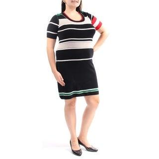 SONIA RYKIEL $1070 Womens New 7944 Black Striped Short Sleeve Sheath Dress 8 B+B