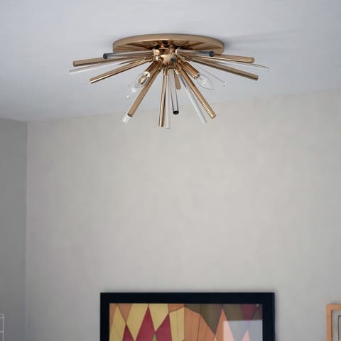 Aria 22.5-in Natural Brass 4 Light Mid Century Modern Sputnik Flush Mount Ceiling Fixture with Glass Accents