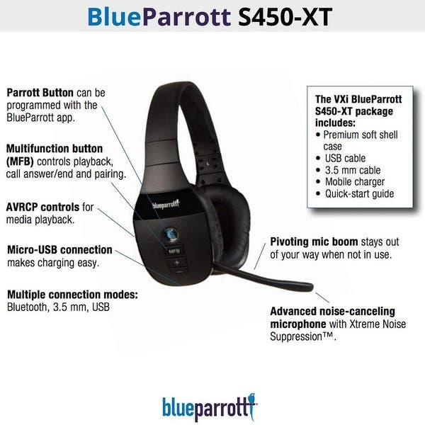 Shop Blueparrott S450 Xt Stereo Noise Cancelling Microphone Headset Overstock 25616332