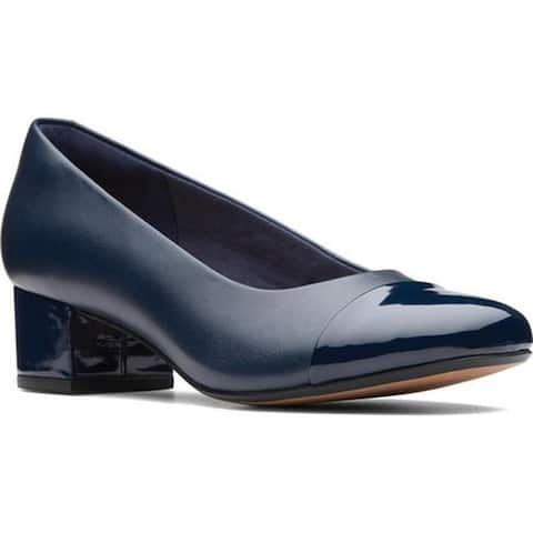 Clarks Women's Chartli Diva Pump Navy Leather/Synthetic Combination