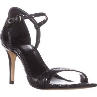 MICHAEL Michael Kors Simone Mid Sandal Ankle Strap Sandals, Black Glitter