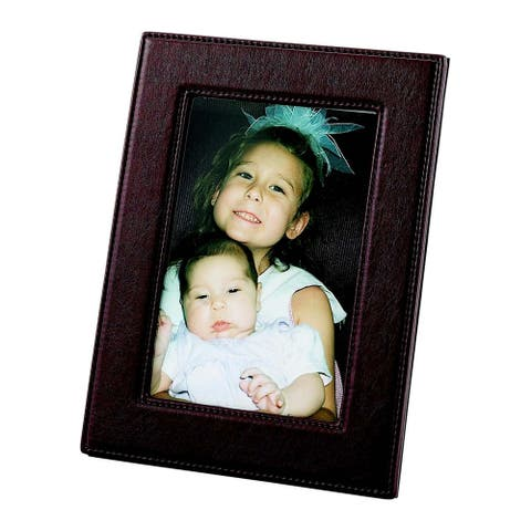 "12.5"" x 10.75"" Rectangular Brown Leatherette Photo Frame - other-frame-size"
