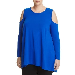 Vince Camuto Womens Plus Casual Top Hi-Low Keyhole