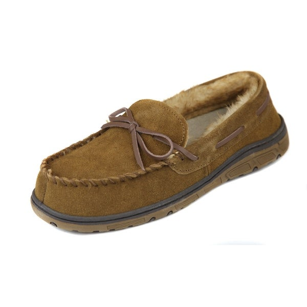 4d99b509a Rockport NEW Brown Fur Lined Men's Size 11M Suede Moccasin Slippers