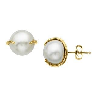 10 mm Freshwater Pearl Stud Earrings in 14K Gold