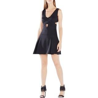 BCBG Max Azria Womens Harlie Party Dress Cut-Out Asymmetric