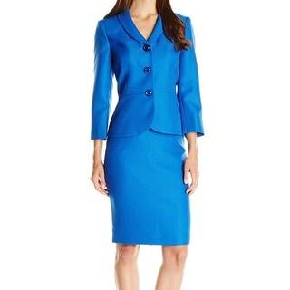 Le Suit NEW Blue Metallic Jacquard Women's Size 14 Skirt Suit Set