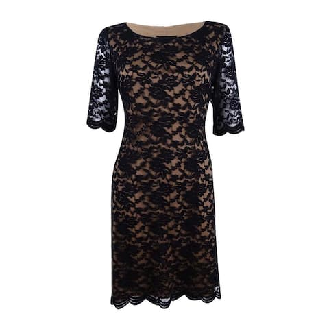 Connected Apparel Women's Plus Size Lace Dress