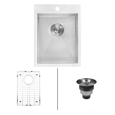 "Ruvati RVH8110 Tirana 15"" Drop In Single Basin 16 Gauge Stainless Steel Bar Sink with Basin Rack and Basket Strainer -"