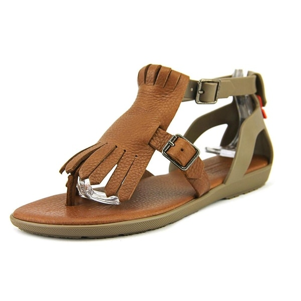 Hunter Original T-Bar Sandal Women  Open Toe Synthetic Brown Thong Sandal