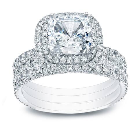 Auriya 2 1/2ctw Cushion-cut Halo Diamond Engagement Ring 3pc Set 14k Gold