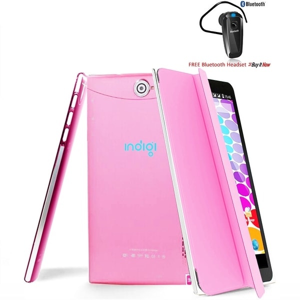 Indigi® Unlocked 3G (2-in-1) SmartPhone & TabletPC w/ Built-In SmartCover + WiFi + Bluetooth Included(Pink) - Pink