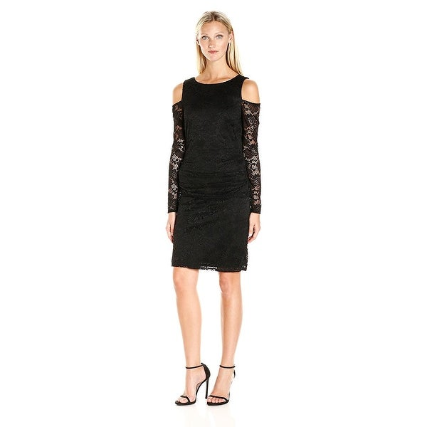 Shop Laundry By Shelli Segal Cold Shoulder Stretch Lace Sheath