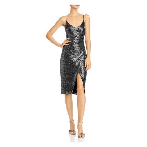 BLACK HALO Black Spaghetti Strap Short Dress 6