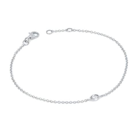 10Karat White Gold 1/10Cttw Marquise Cut Diamond Bezel Set Single Station Rolo Chain Bracelet