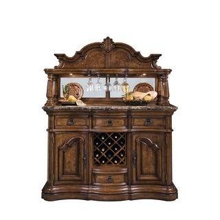 "Delacora HM-662303 San Mateo 60"" Wide Hardwood Bar/Wine Cabinet - Pecan - N/A"