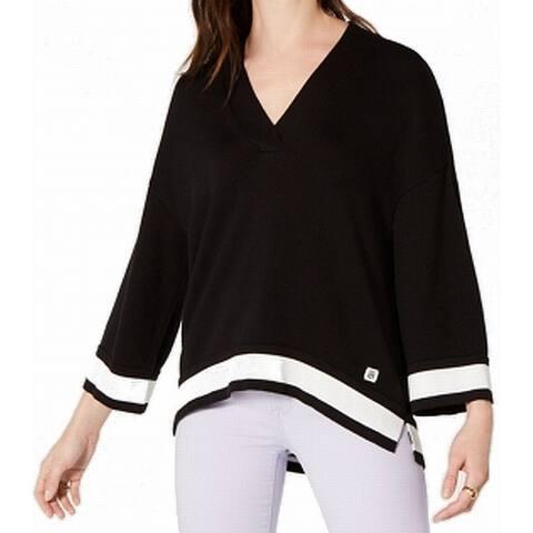 Tommy Hilfiger Womens Sweater Black White Size XL Deep V-Neck Oversized