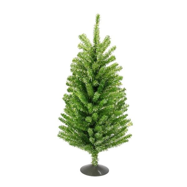 "18"" Sparkling Kiwi Green and Silver Retro Tinsel Table Christmas Tree - Unlit"