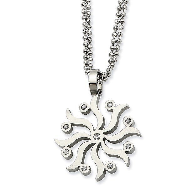 Chisel Stainless Steel Snowflake with CZs 22 Inch Necklace (2 mm) - 22 in