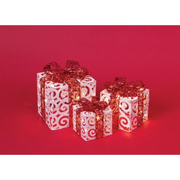 Set of 3 White and Red Glitter Finished Christmas Gift Boxes - Clear Lights