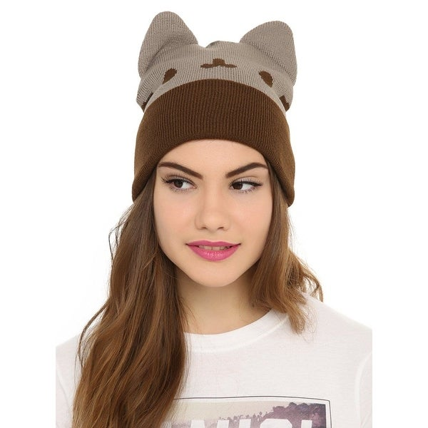 46b41eaa5e9 Shop Pusheen the Cat Face Beanie with Ears - Grey Brown - Free ...
