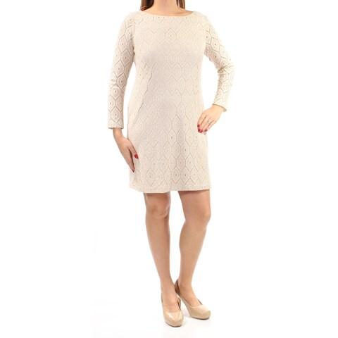 Womens Beige Long Sleeve Above The Knee Sheath Casual Dress Size: 5