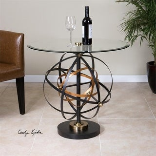 "28"" Black and Gold Metal Geometric Orbital Spheres with Tempered Glass Top Accent Table"