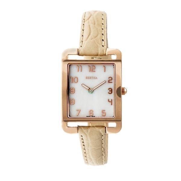 Bertha Marisol Women's Quartz Watch, Mother of Pearl Dial, Genuine Leather Band, Luminous Hands
