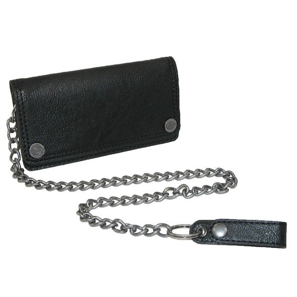 Dickies Men's Leather Trucker Chain Wallet with Snaps - One size