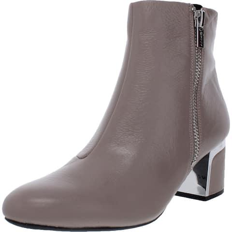 DKNY Womens Crosbi Ankle Boots Leather Almond Toe - Warm Grey