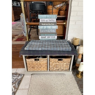 "Old Stone Vintage Grey Wicker Storage Bench - 33.5"" x 16.1"" x 19.9"""
