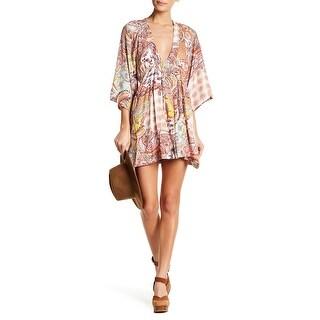Anama Womens Small Deep V-Neck Paisley A-Line Dress