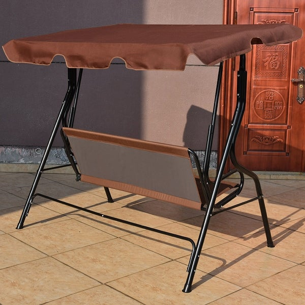 costway 3 seats patio canopy swing glider hammock cushioned steel frame backyar coffee free shipping today