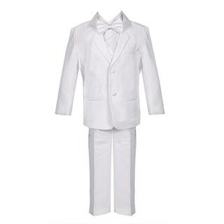 Big Boys White 5 Piece Vest Jacket Pants Special Occasion Tuxedo Suit