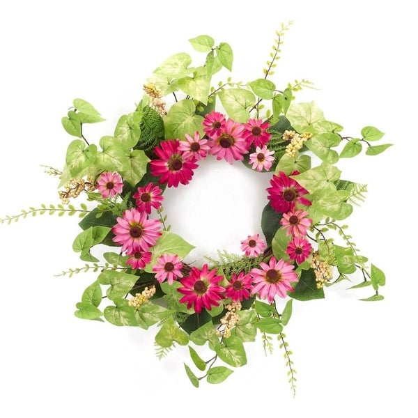 """Pack of 2 Green and Pink Springtime Bright Black Eyed Susan Wreath 25"""""""