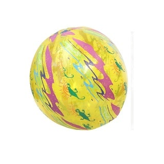 "20"" Water Sports Inflatable Yellow Printed Beach Ball Swimming Pool Toy"