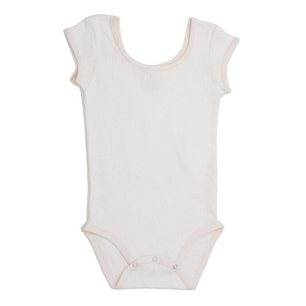 Baby Girls White Cap Sleeve Pointelle Organic Cotton Bodysuit 0-12M