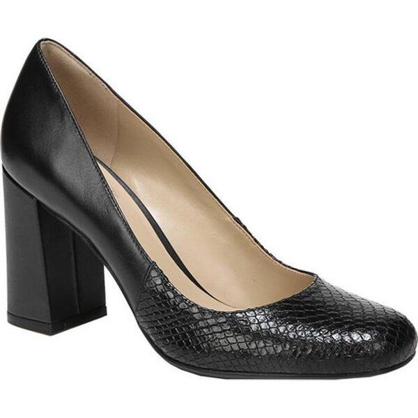 442c287c5f Naturalizer Women  x27 s Rhea Block Heel Pump Black Leather Snake Print  Leather
