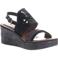 OTBT Women's Hippie Wedge Sandal Black Leather